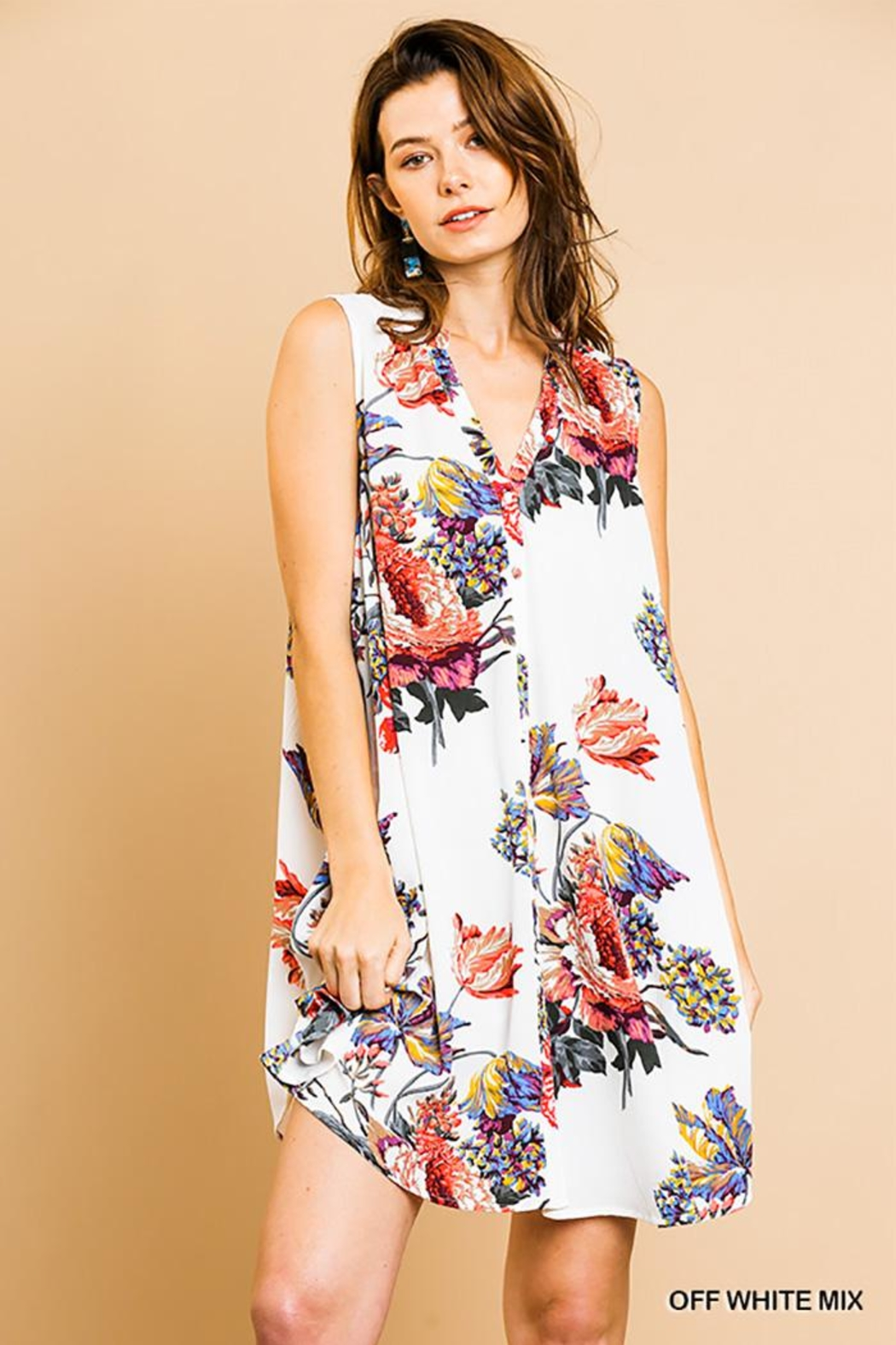 Umgee USA Floral Sleeveless Dress - Front Cropped Image