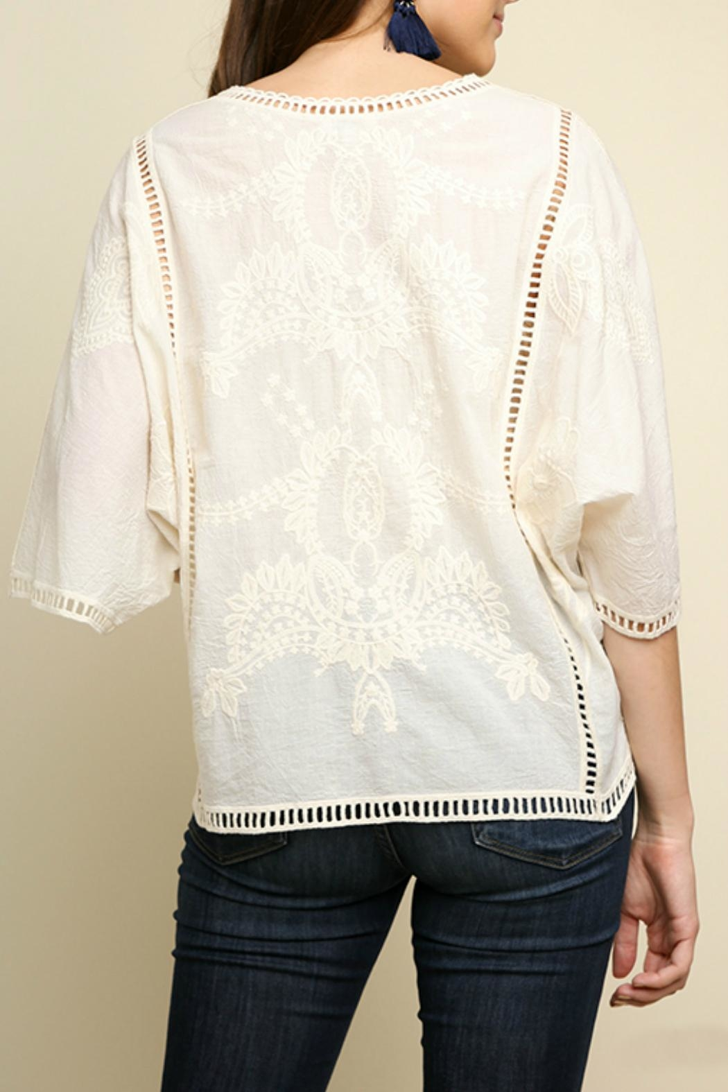 Umgee USA Floral Tonal-Embroidery Top - Front Full Image