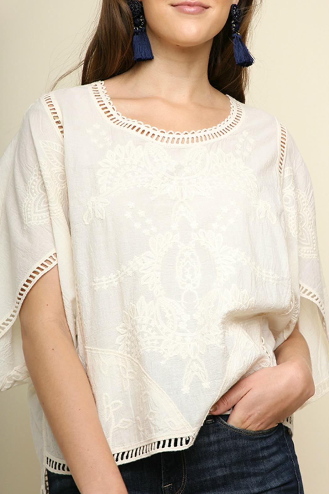 Umgee USA Floral Tonal-Embroidery Top - Side Cropped Image