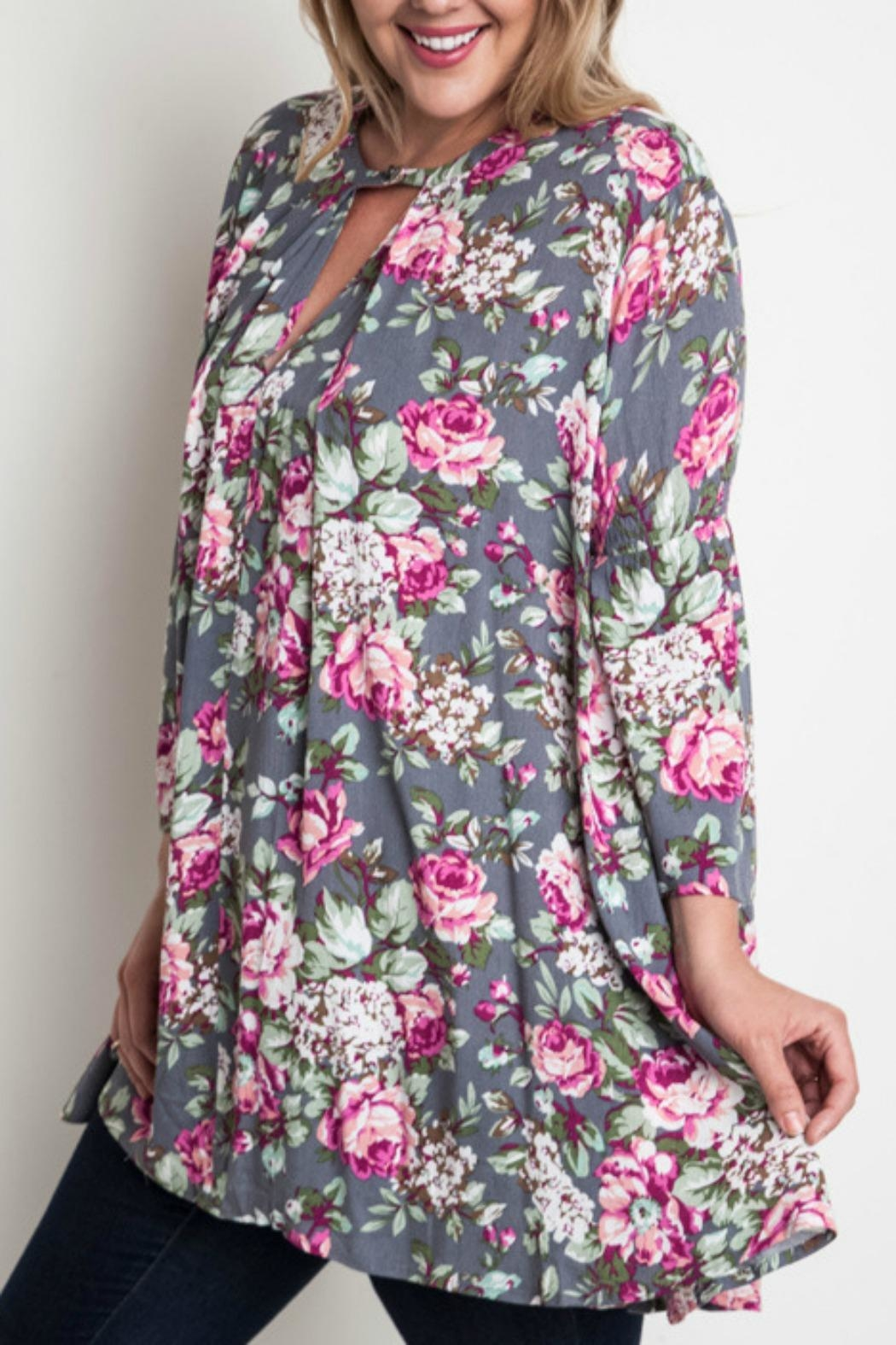 Umgee USA Floral Trapeze Top - Front Full Image