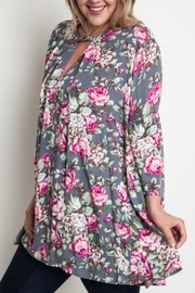 Umgee USA Floral Trapeze Top - Front full body