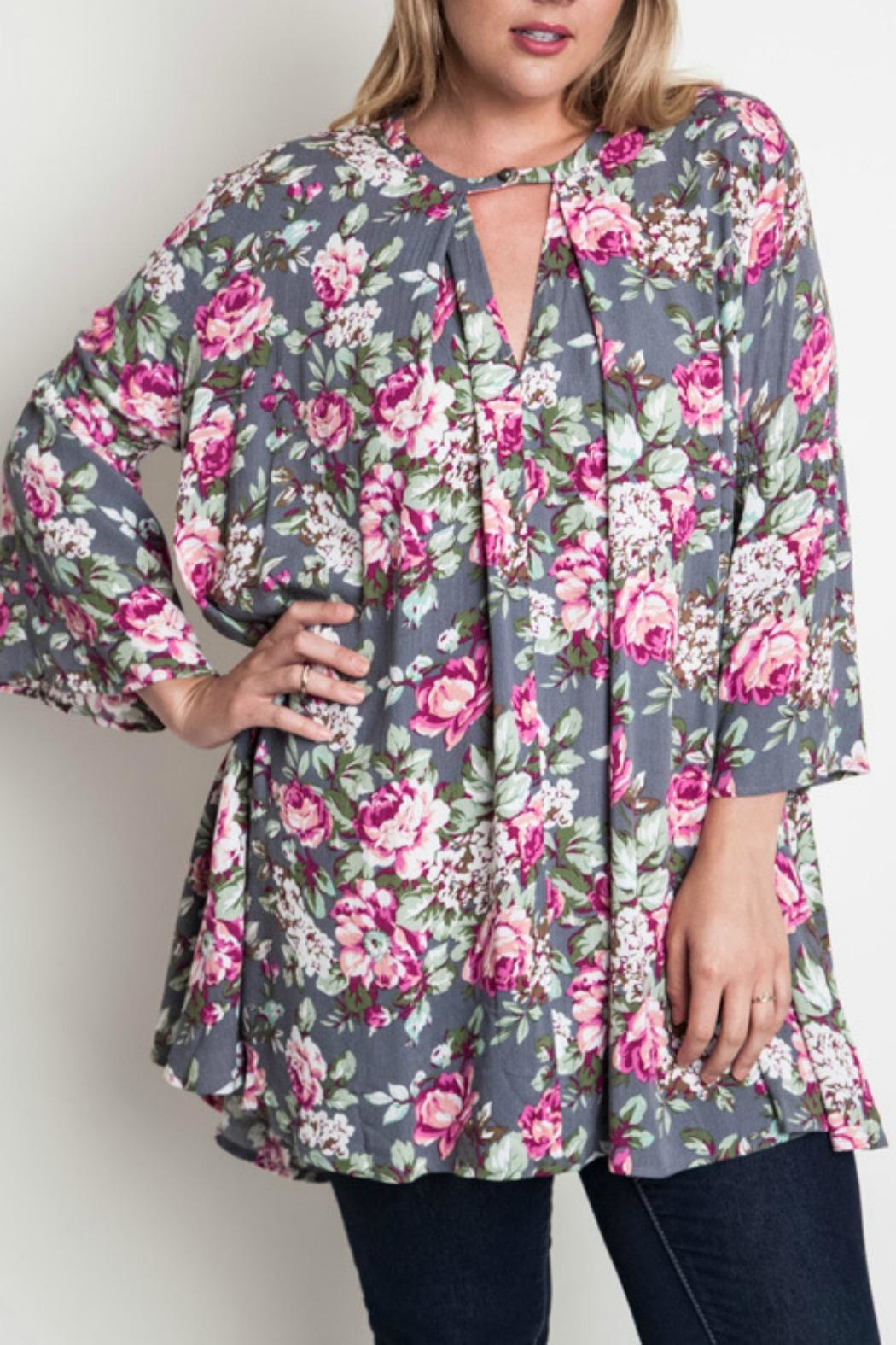 Umgee USA Floral Trapeze Top - Front Cropped Image