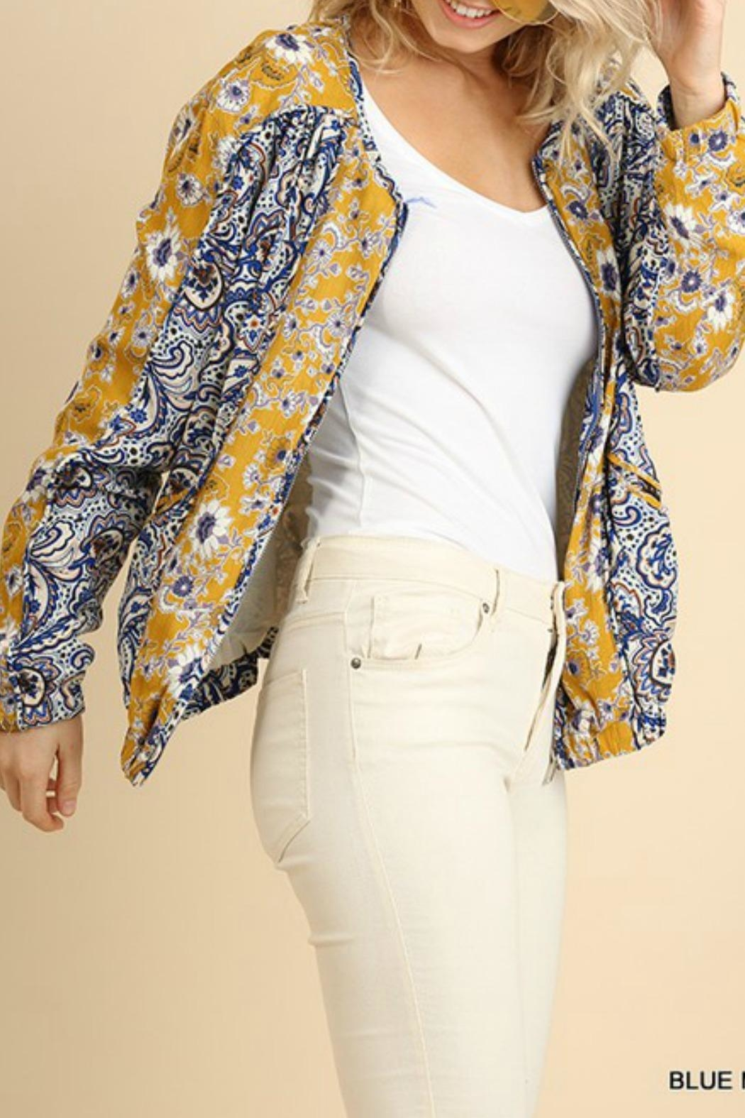 Umgee USA Floral Zip-Up Bomber - Side Cropped Image
