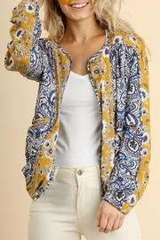 Umgee USA Floral Zip-Up Bomber - Front cropped