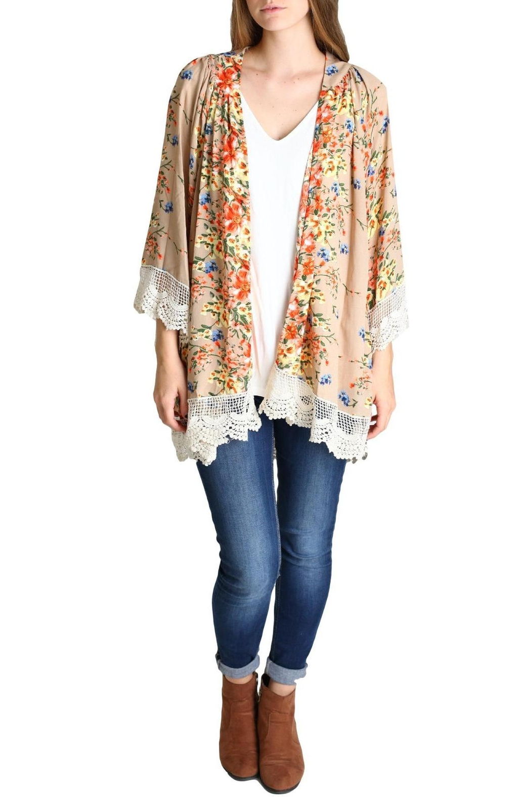 Umgee USA Flower Bomb Kimono Top - Front Cropped Image