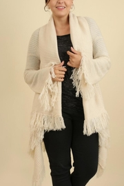 Umgee USA Fringe Sweater Shawl - Front cropped