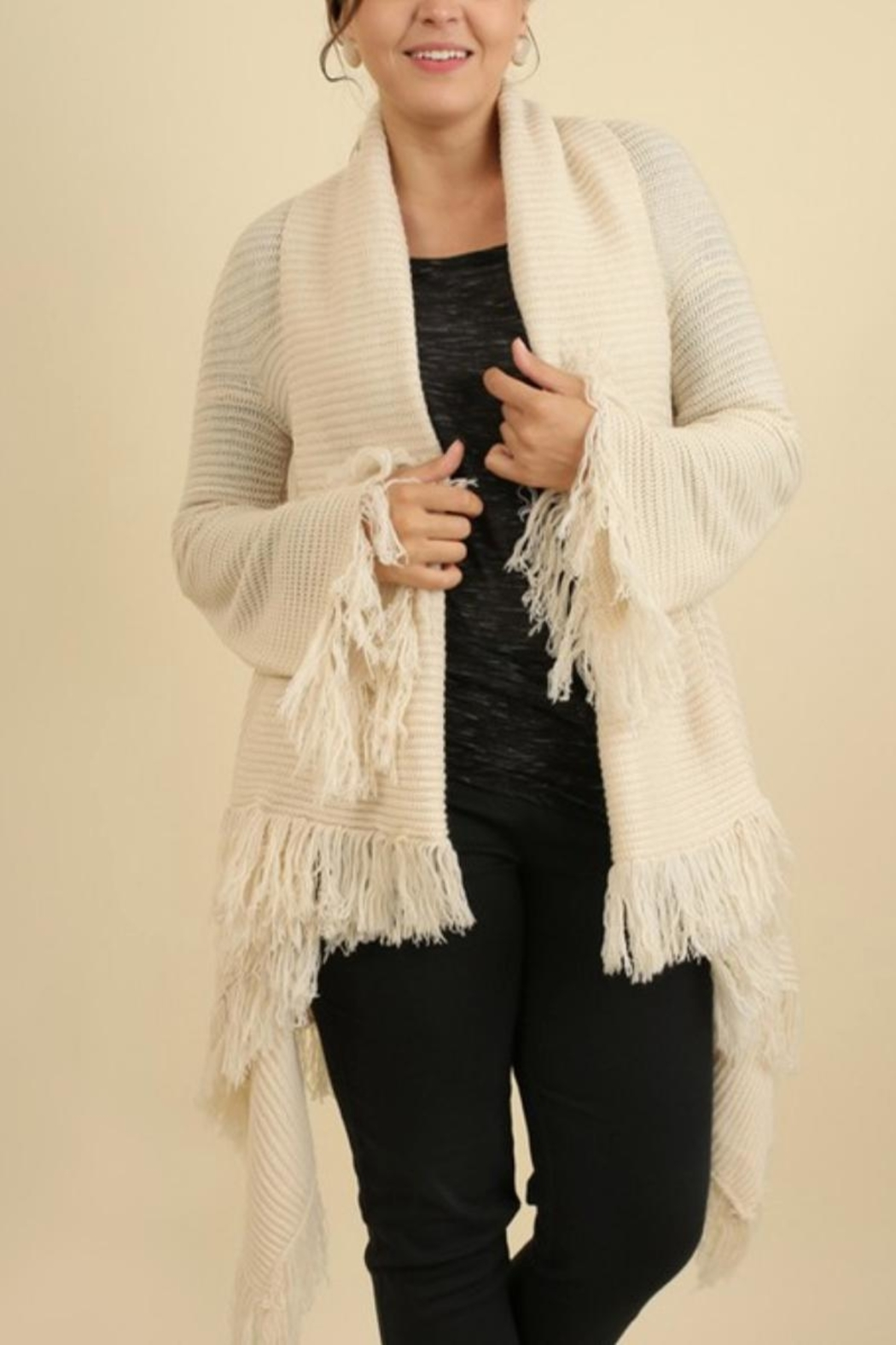 Umgee USA Fringe Sweater Shawl - Front Cropped Image