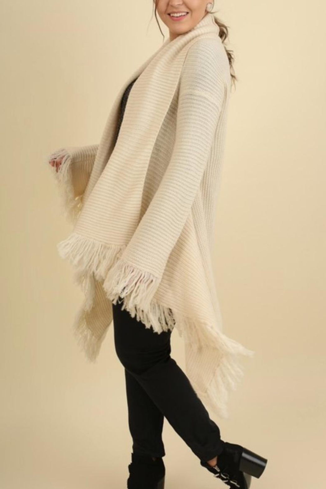 Umgee USA Fringe Sweater Shawl - Front Full Image