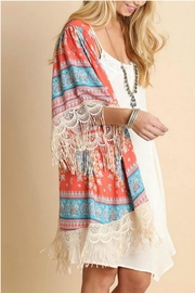 Umgee USA Fringed Coral-Printed Kimono - Front full body
