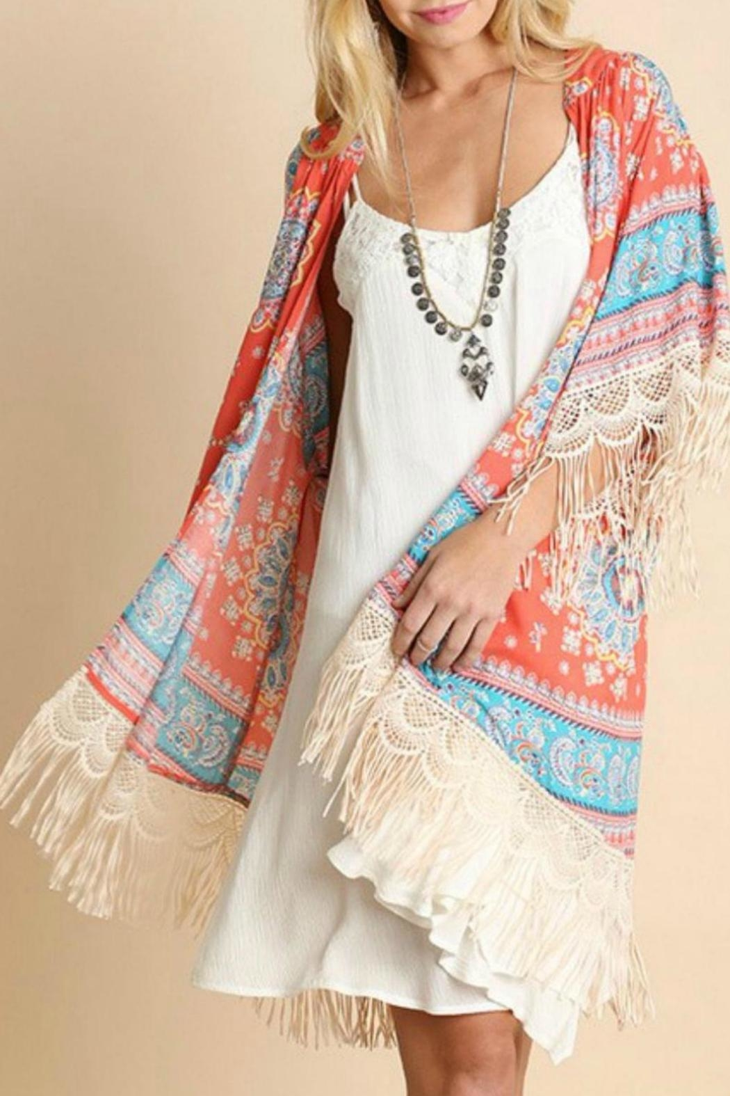 Umgee USA Fringed Coral-Printed Kimono - Front Cropped Image