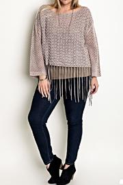 Umgee USA Fringed Sweater Top - Product Mini Image