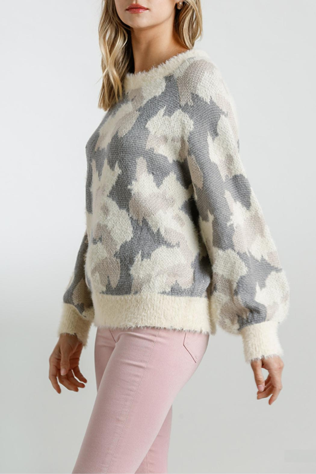 Umgee USA Fuzzy-Knit Camo Sweater - Front Full Image
