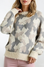 Umgee USA Fuzzy-Knit Camo Sweater - Product Mini Image