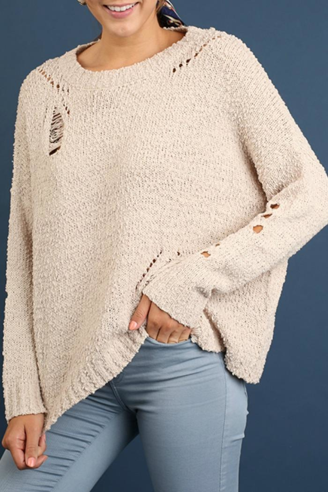 Umgee USA Get Caught Up Sweater - Front Cropped Image