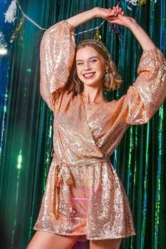 umgee  Gold Rose Sequin Romper - Product List Image