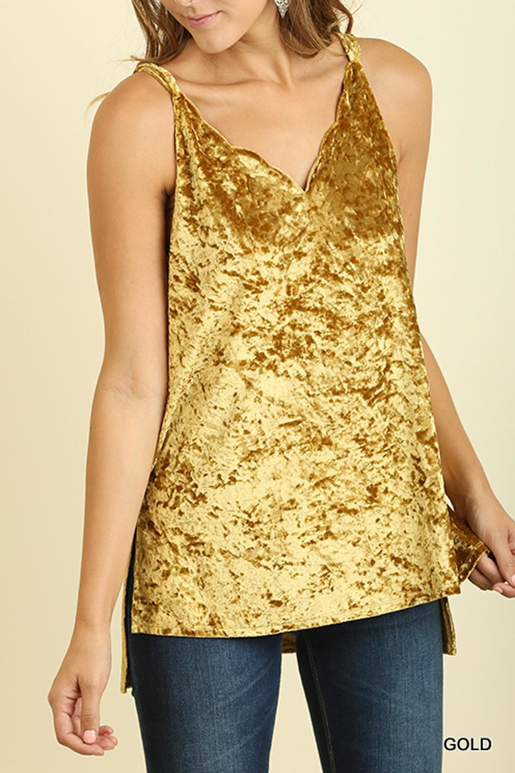 Umgee USA Gold Velvet Tank - Front Cropped Image