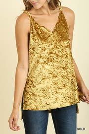 Umgee USA Gold Velvet Tank - Front cropped