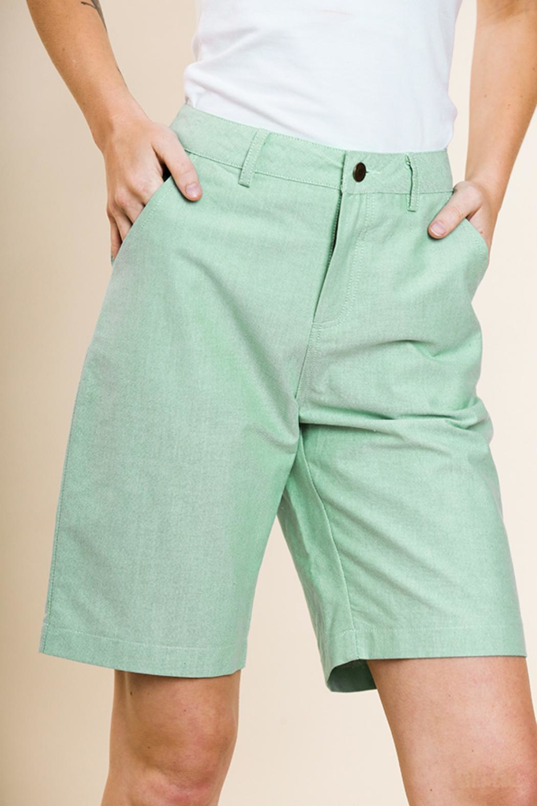 Umgee USA Green Bermuda Shorts - Front Cropped Image