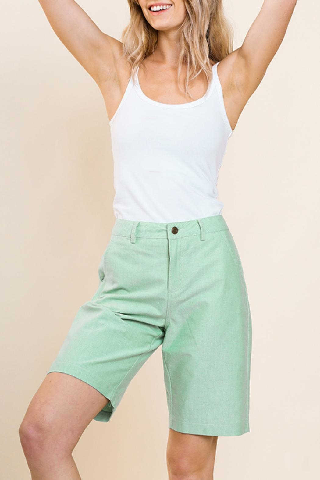 Umgee USA Green Bermuda Shorts - Front Full Image