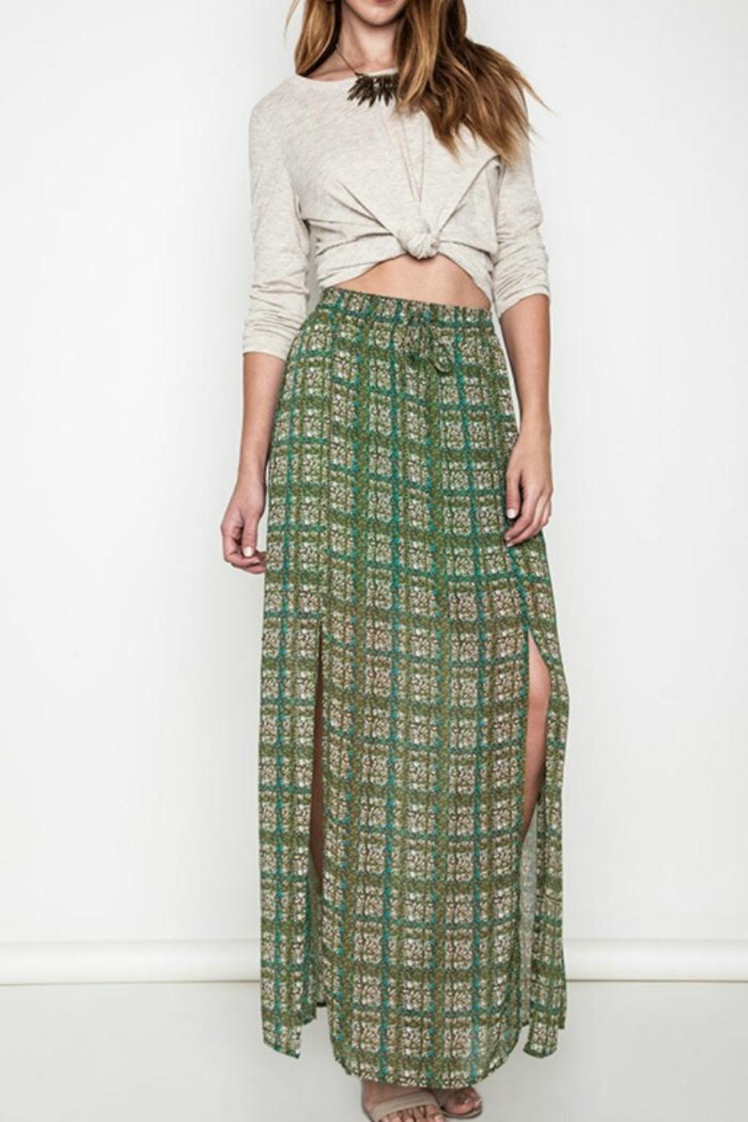 Umgee USA Green Printed Maxi Skirt - Front Cropped Image