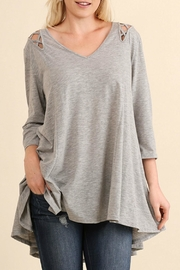 Umgee USA Grey Cutout Tunic Top - Product Mini Image