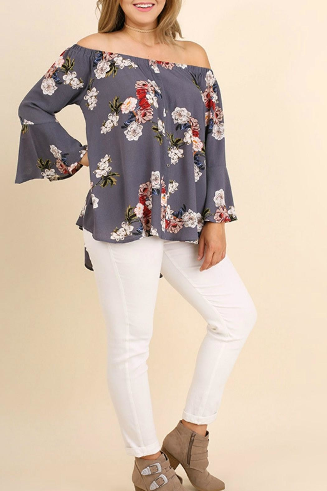 Umgee USA Grey Floral Top - Front Cropped Image