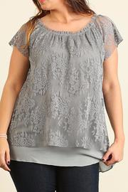 Umgee USA Grey Plus Lace Top - Product Mini Image