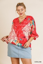 Umgee USA Happy Coral Blouse - Front cropped