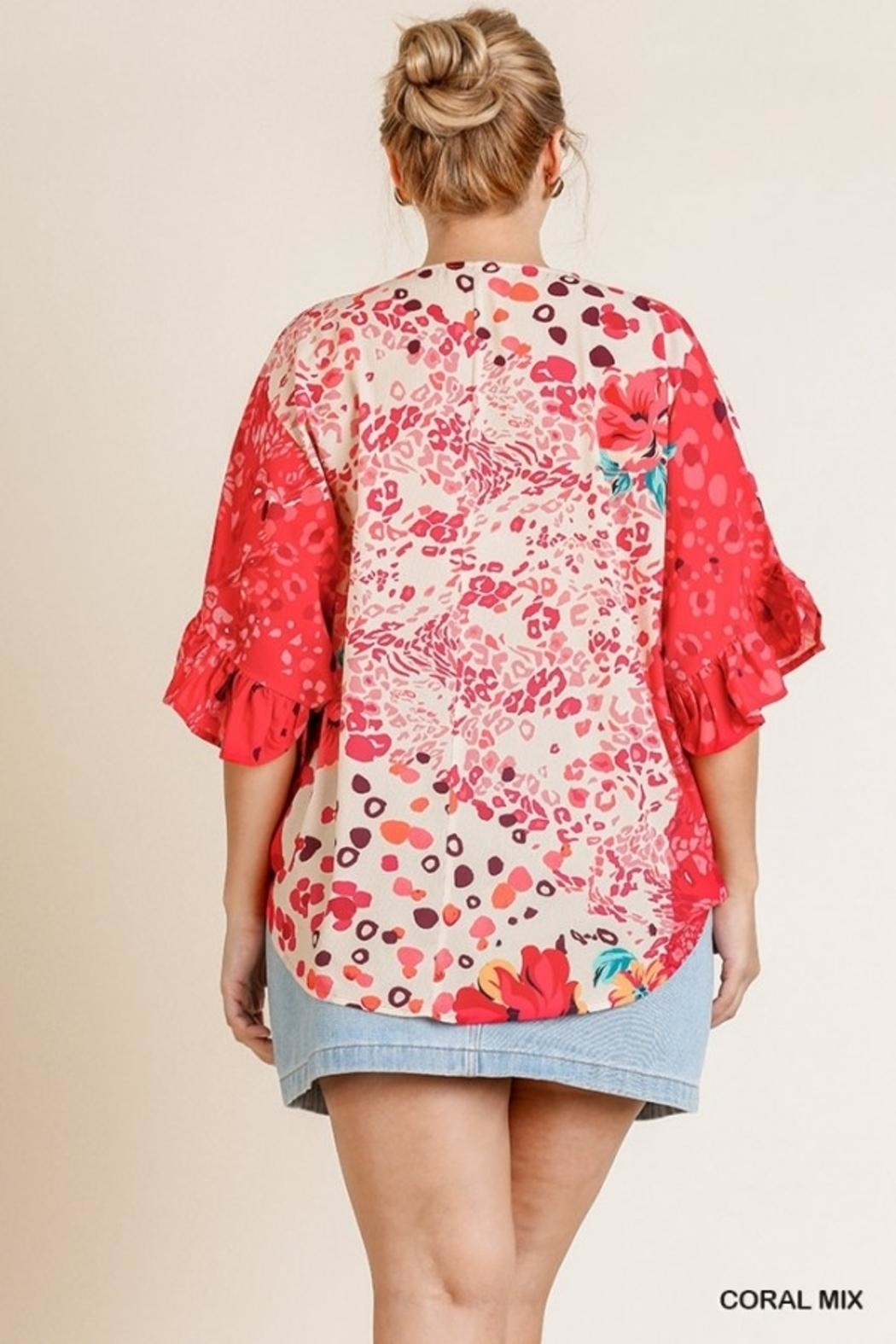 Umgee USA Happy Coral Blouse - Front Full Image