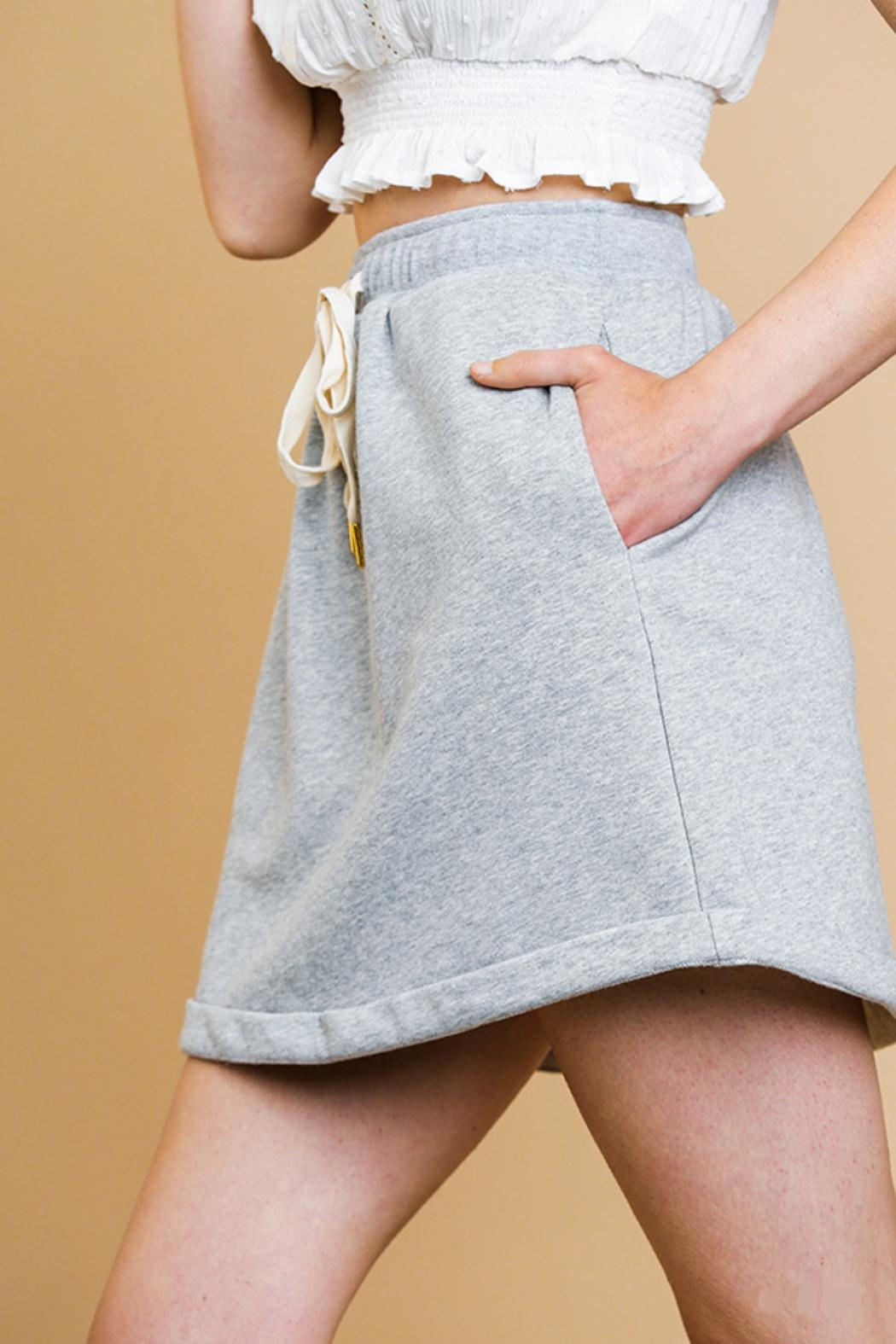 Umgee USA Heathered Mini Skirt - Front Full Image