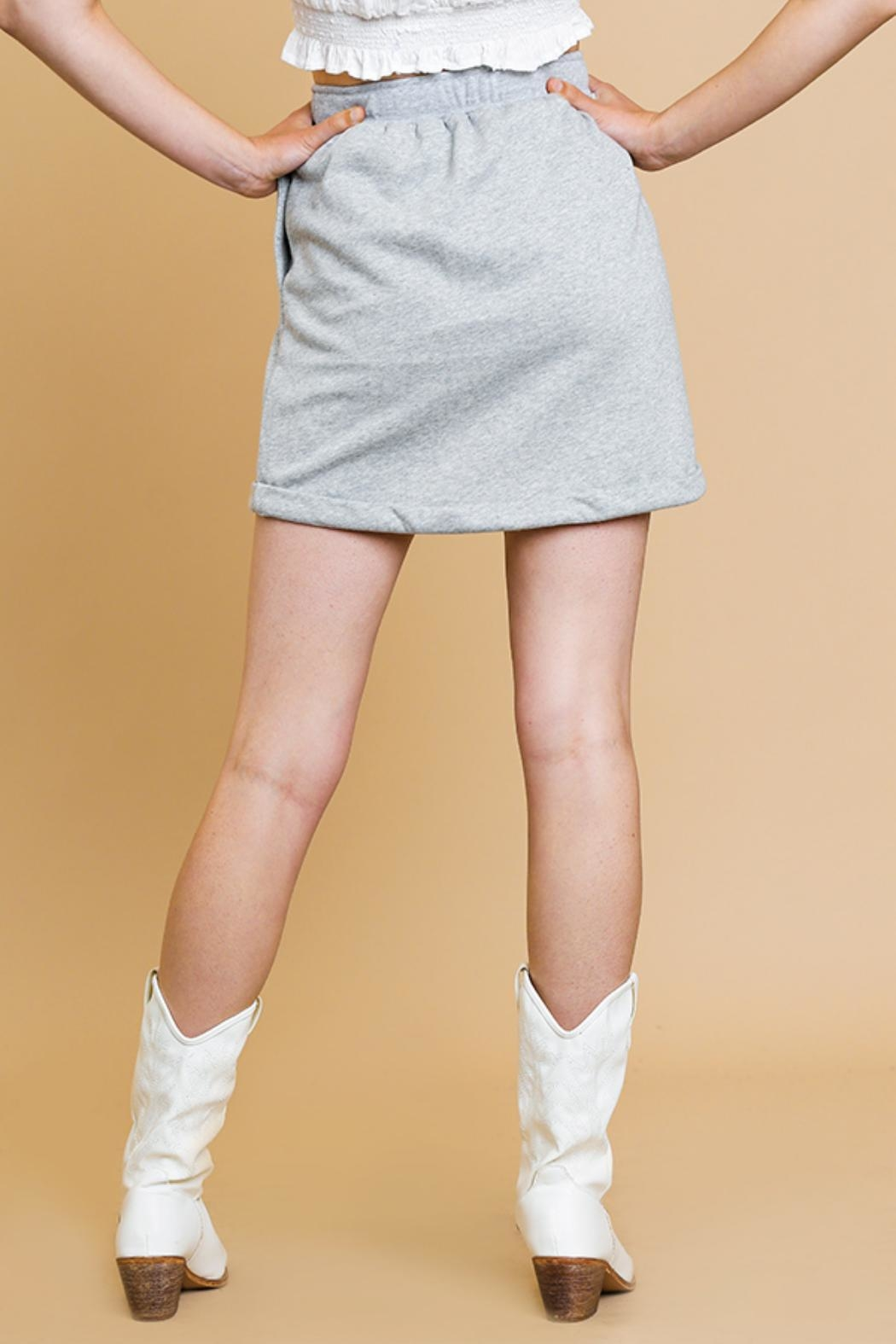 Umgee USA Heathered Mini Skirt - Side Cropped Image