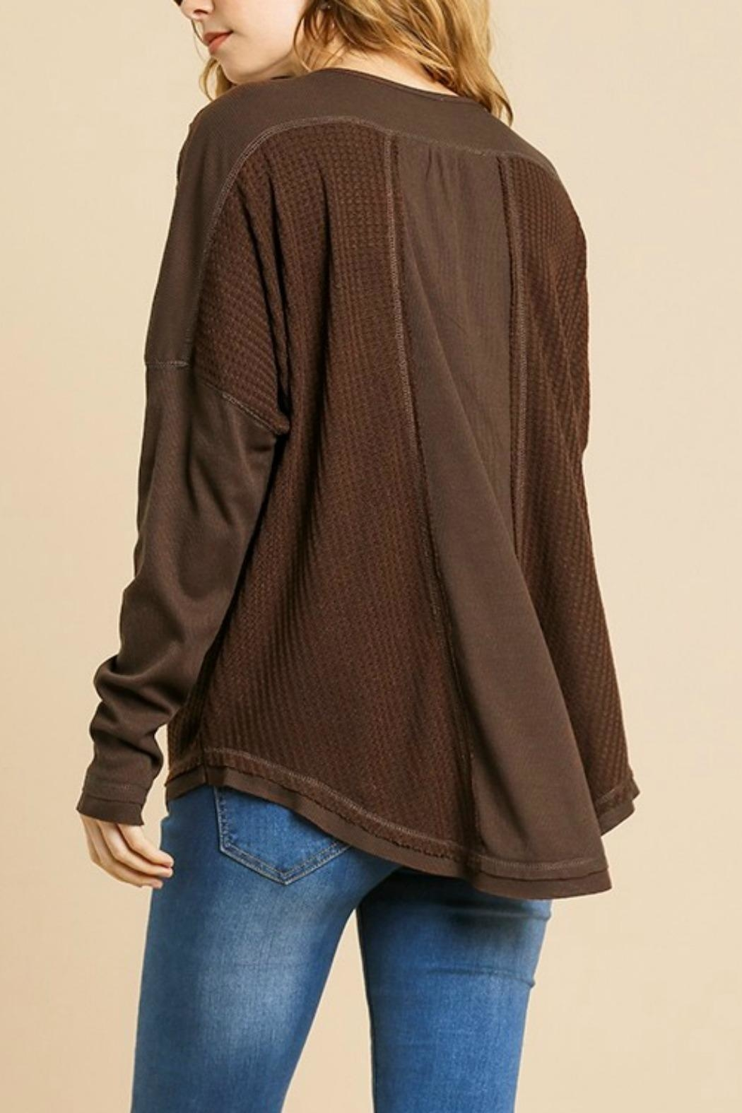 Umgee USA Henley Brown Thermal - Back Cropped Image