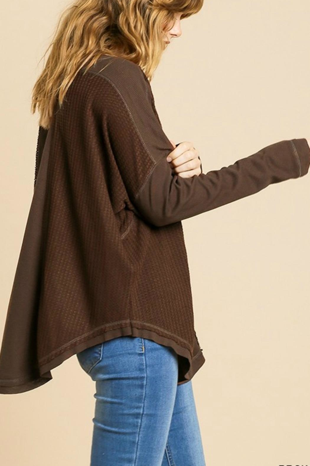 Umgee USA Henley Brown Thermal - Side Cropped Image