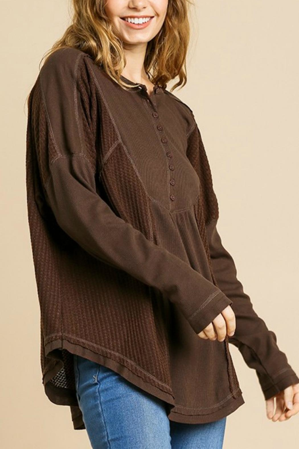 Umgee USA Henley Brown Thermal - Main Image