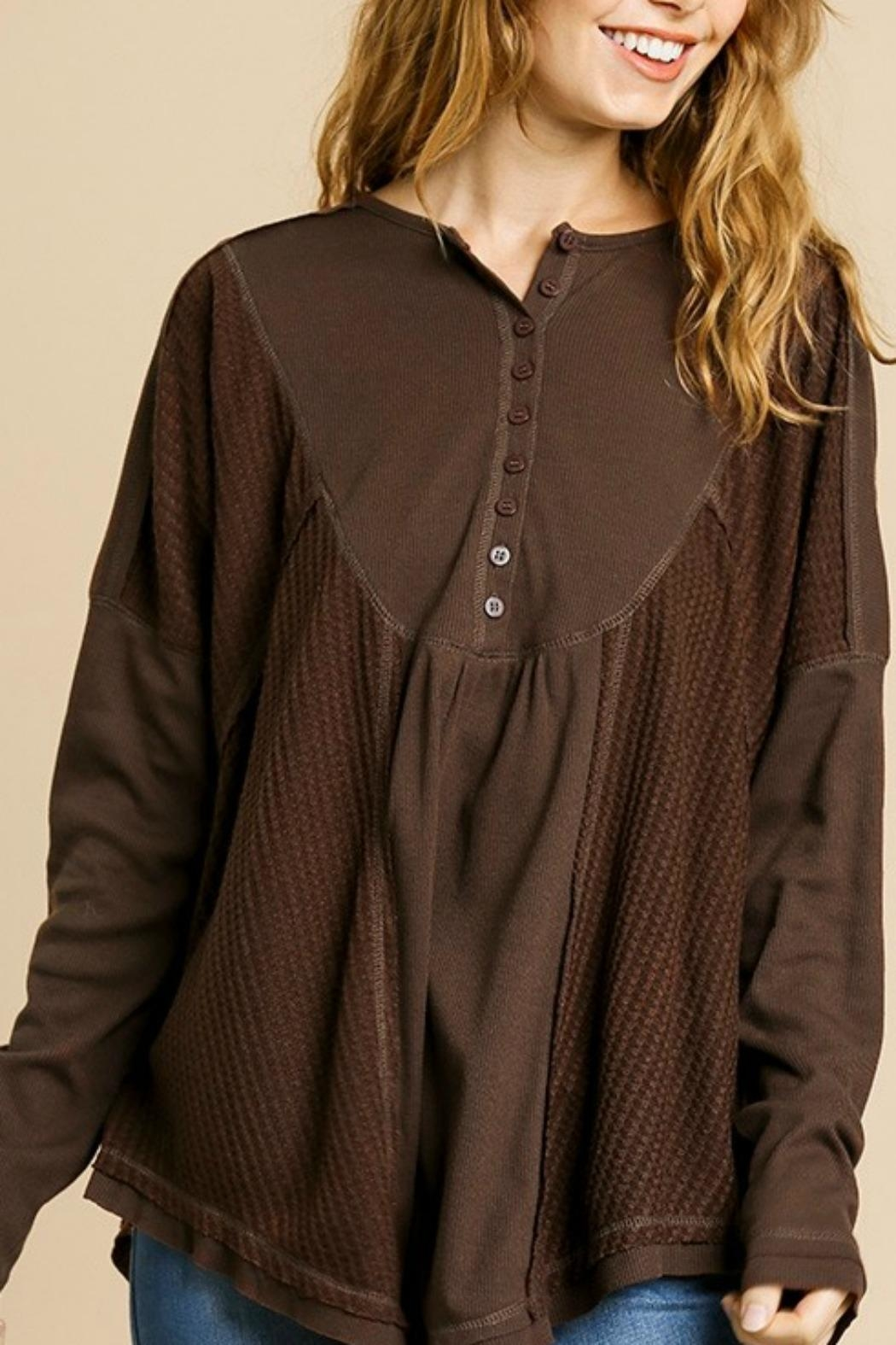 Umgee USA Henley Brown Thermal - Front Full Image