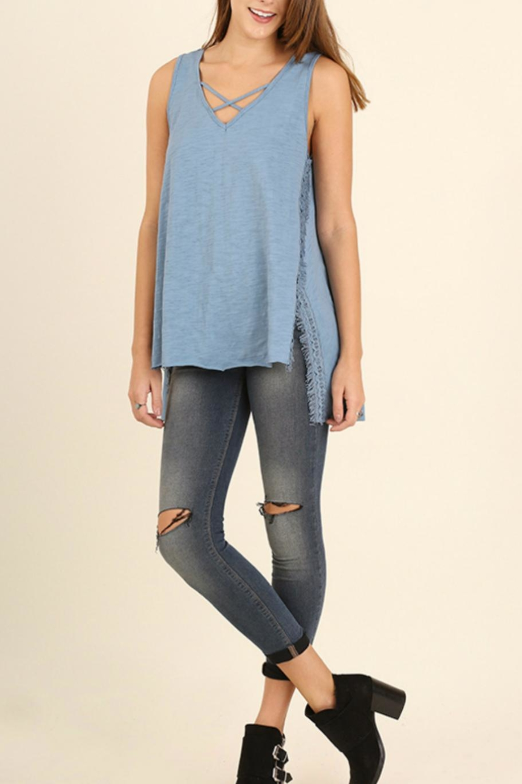 Umgee USA High Low Sleeveless Top - Front Full Image