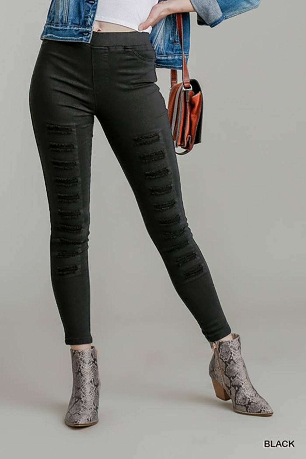 Umgee USA High Waist Distressed Jeggings - Front Full Image