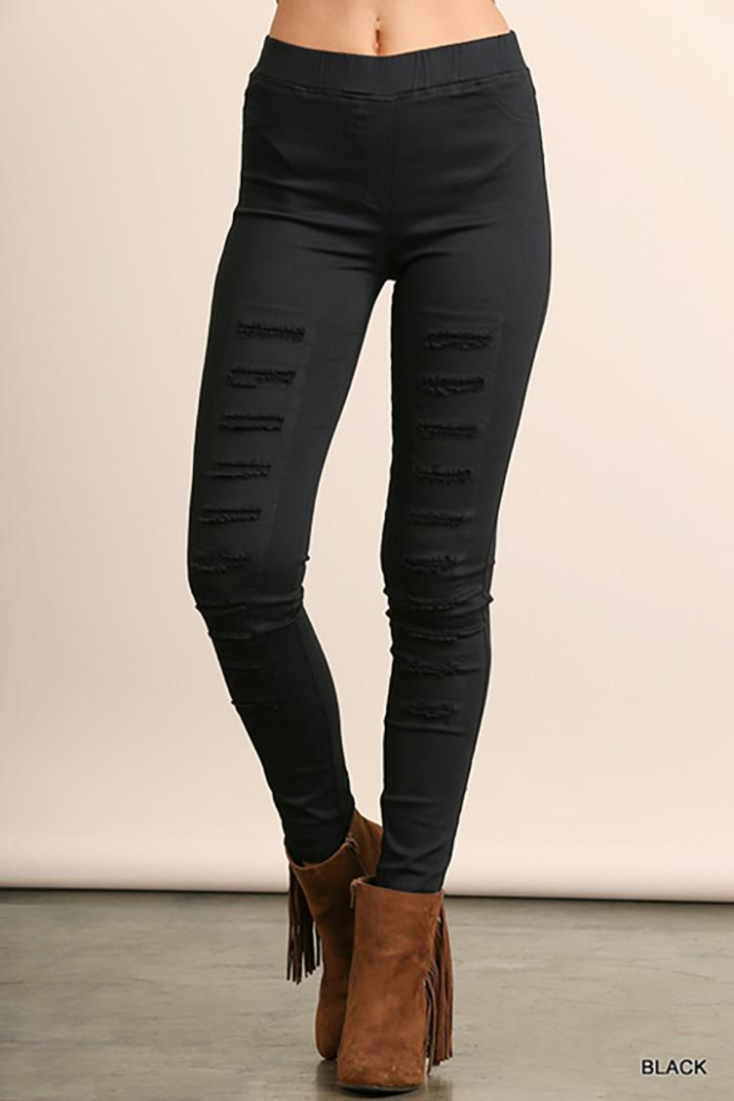 Umgee USA High Waist Distressed Jeggings - Front Cropped Image
