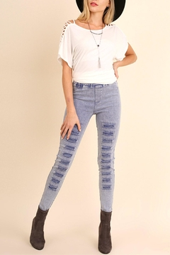 Shoptiques Product: High-Waisted Ripped Jeggings