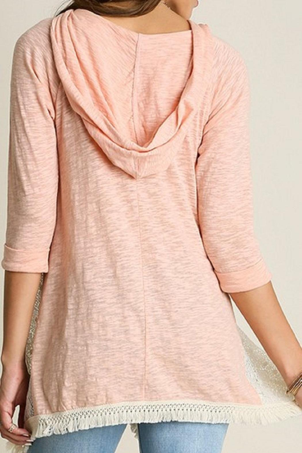 Umgee USA Hooded Lace Top - Front Full Image