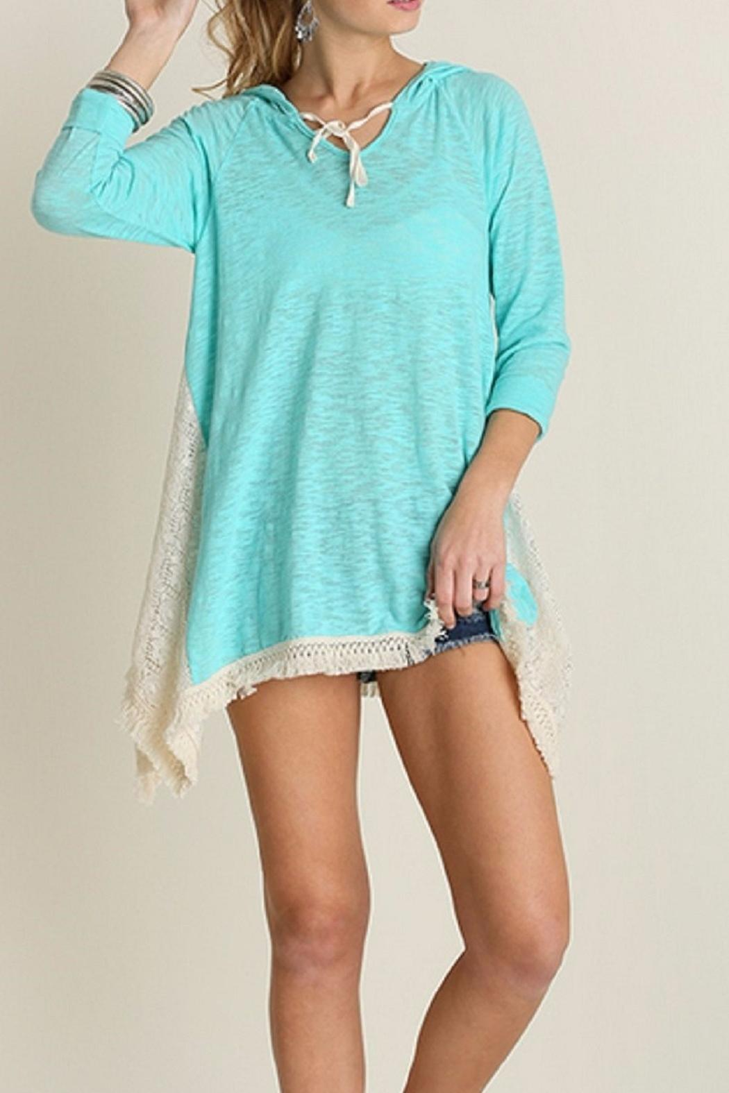 Umgee USA Hooded Lace Top - Side Cropped Image