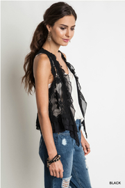 Umgee USA Knit Crochet Vest - Front full body