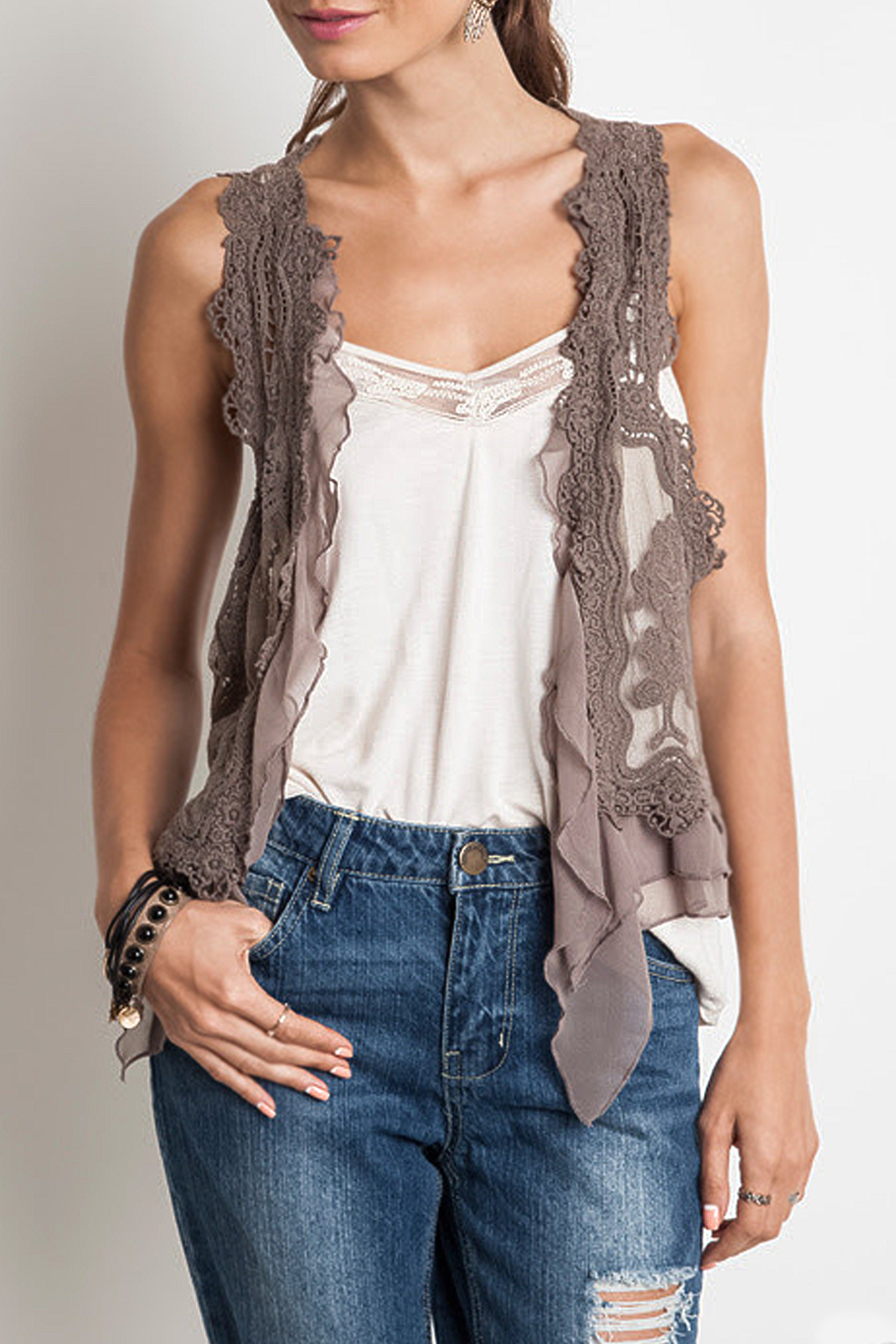 Umgee USA Knit Crochet Vest - Main Image