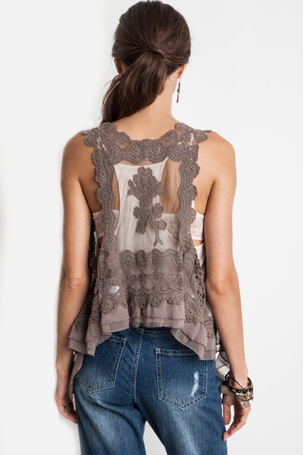 Umgee USA Knit Crochet Vest - Side Cropped Image