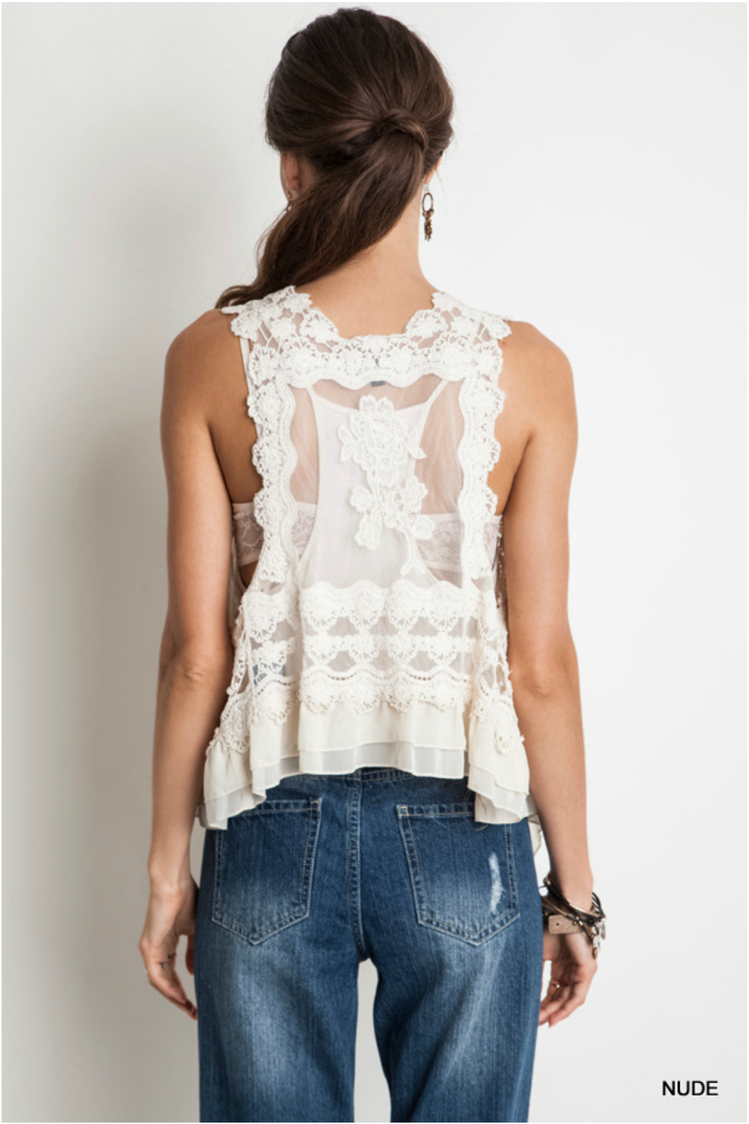 Umgee USA Knit Crochet Vest - Back Cropped Image
