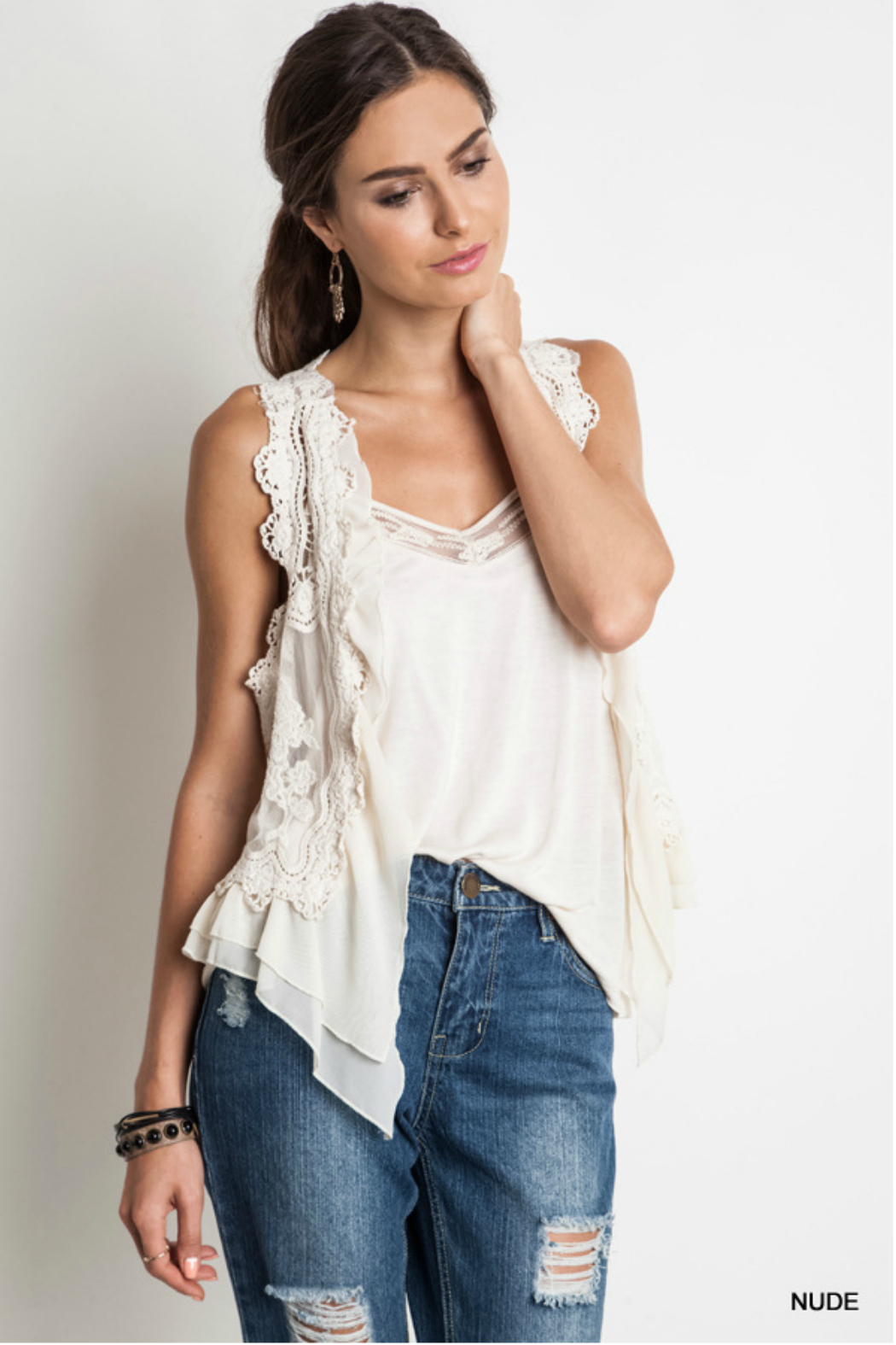 Umgee USA Knit Crochet Vest - Front Cropped Image