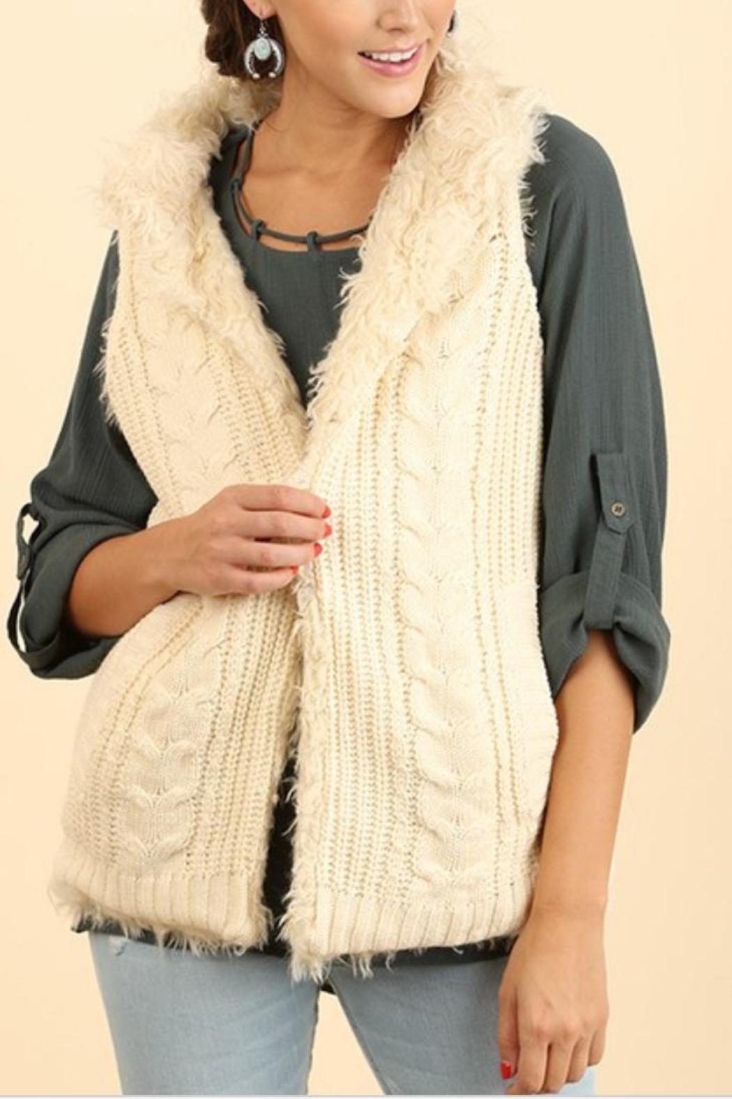 Umgee USA Knit-Faux-Fur Sweater Vest - Front Cropped Image