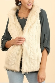 Umgee USA Knit-Faux-Fur Sweater Vest - Front cropped