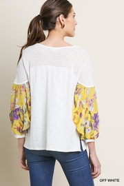Umgee USA Knit Puff-Sleeve Top - Front full body