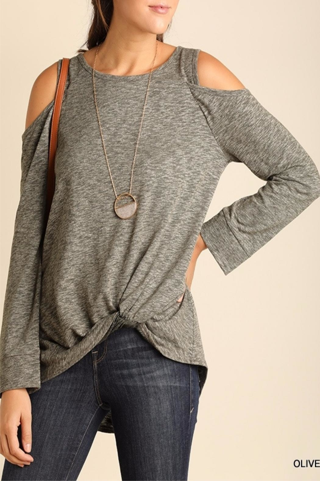 Umgee USA Knotted Hem Top - Front Cropped Image